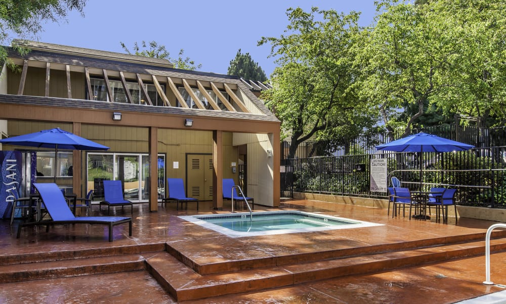 outdoors jacuzzi at The Timbers Apartments in Hayward, CA