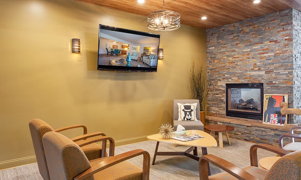 The Trilogy Apartments offers a living room with fireplace in Belleville, MI