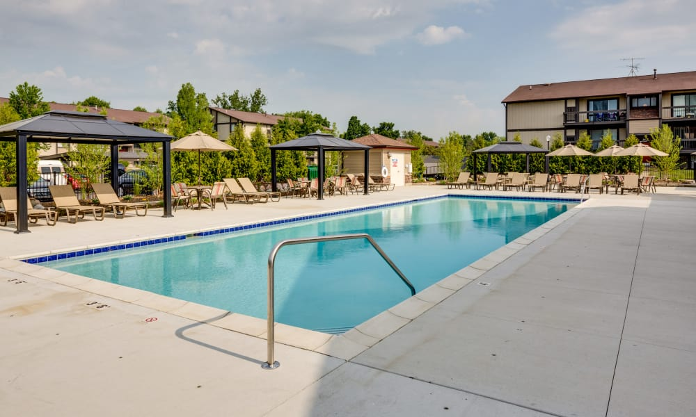 A swimming pool that is great for entertaining at apartments in Belleville, MI