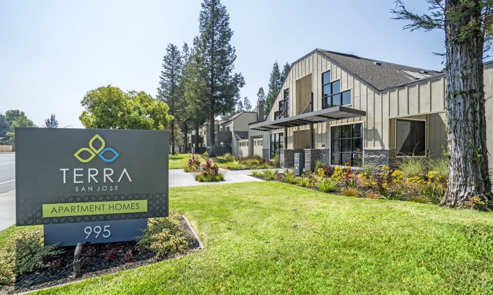 Entrance Sign at Terra Apartments in San Jose, CA