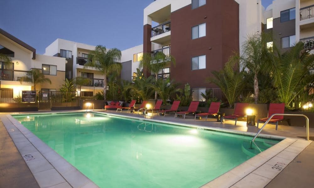 Nightime pool photo at 15Fifty5 Apartments in Walnut Creek
