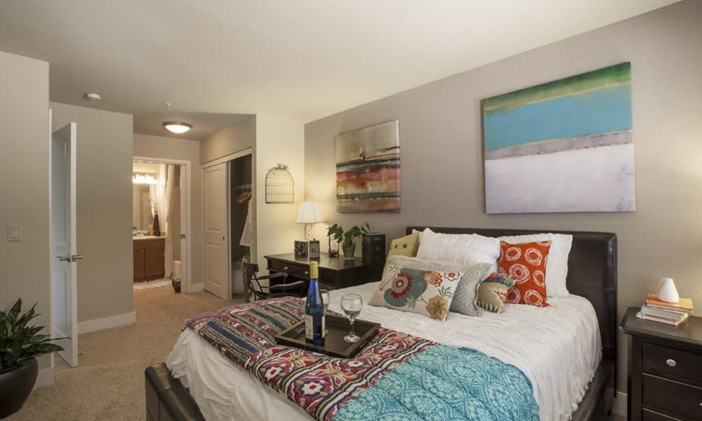 Master bedroom at 15Fifty5 Apartments in Walnut Creek
