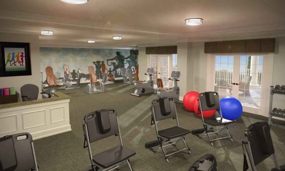 Fitness center at Waltonwood Lake Boone