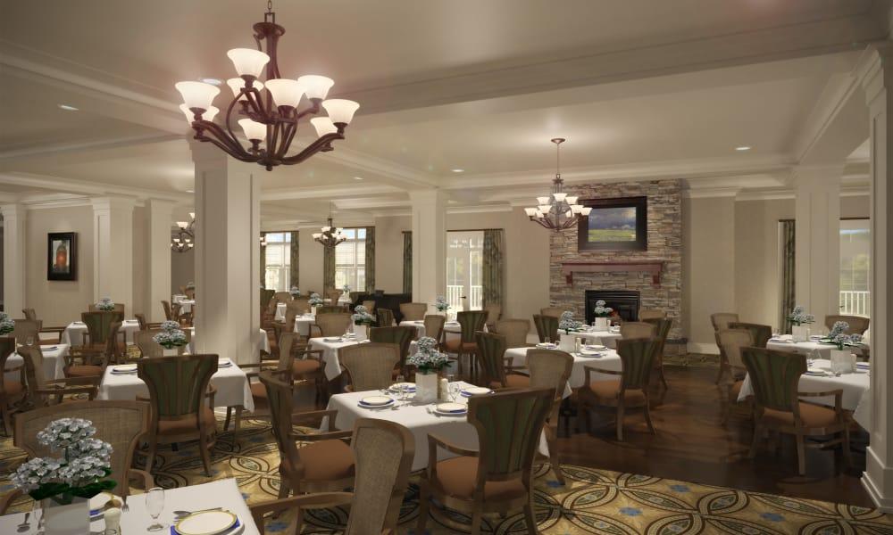 Large dining room at Waltonwood Lake Boone