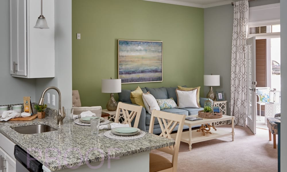 Interior of a senior living apartment home at Waltonwood Lake Boone