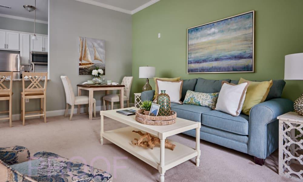 Assisted living apartment living room at Waltonwood Lake Boone