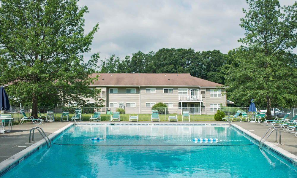 Sparkling swimming pool at Van Antwerp Village in Niskayuna, NY