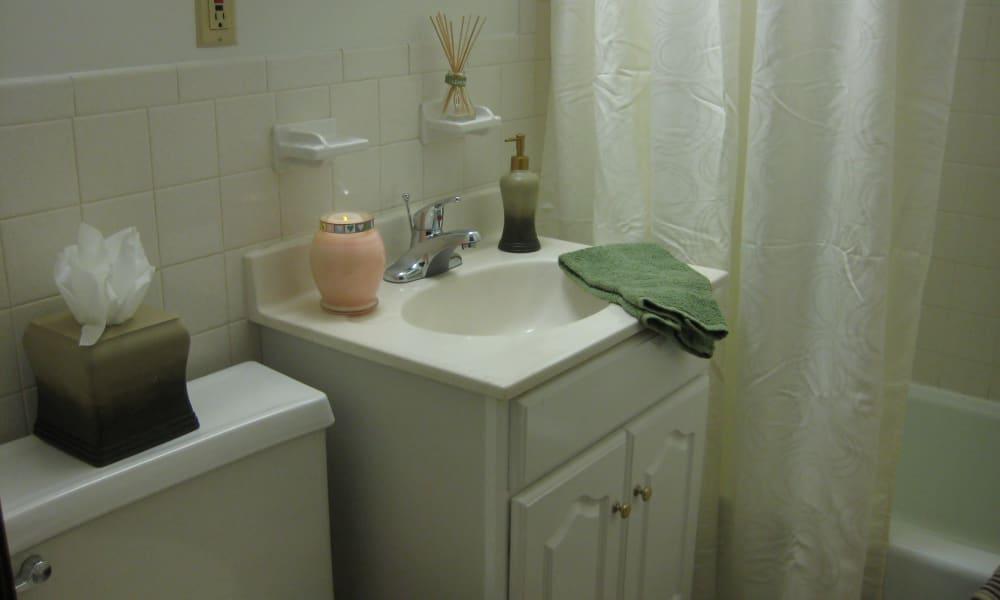 Bathroom at Van Deene Manor apartments in West Springfield, MA