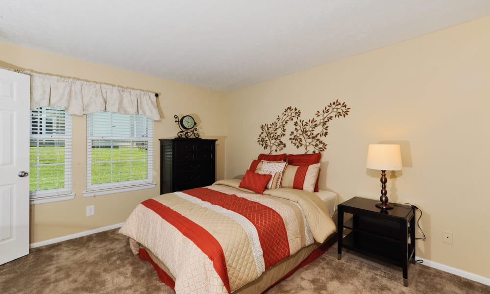 Chase Lea Apartment Homes offers a naturally well-lit bedroom in Owings Mills, MD