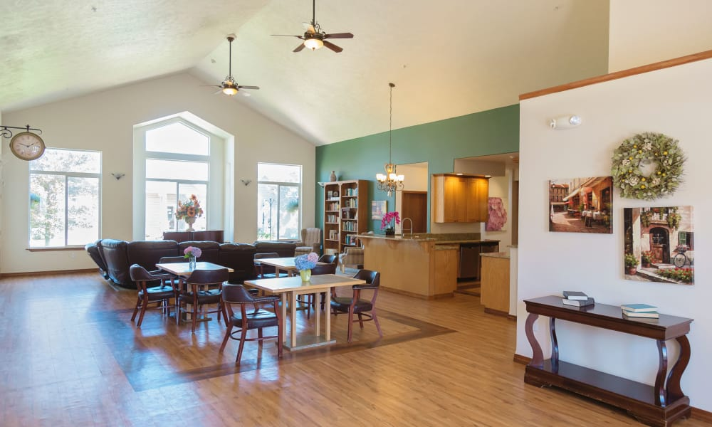 Hardwood flooring and high ceilings at Generations Assisted Living