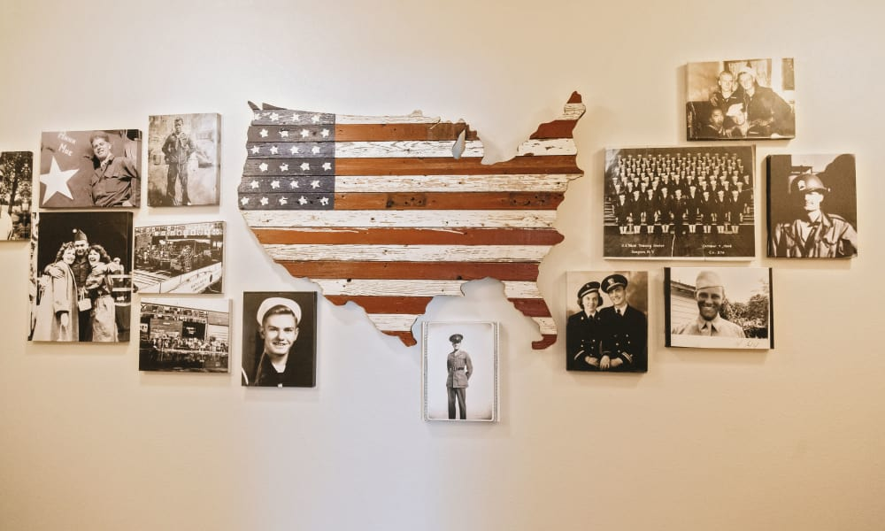 Veterans wall at Generations Assisted Living