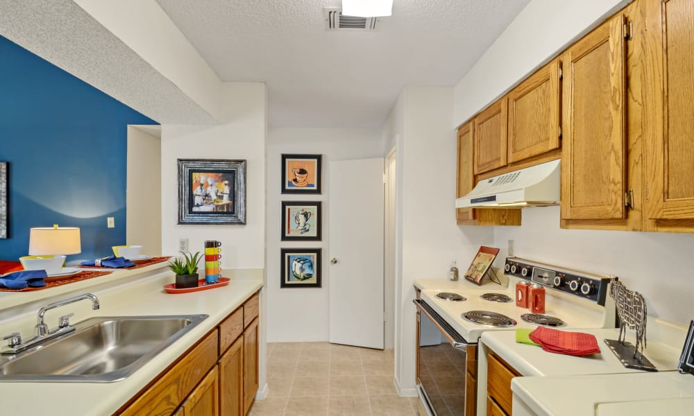 Bright kitchen at Waterview Apartment Homes in Memphis