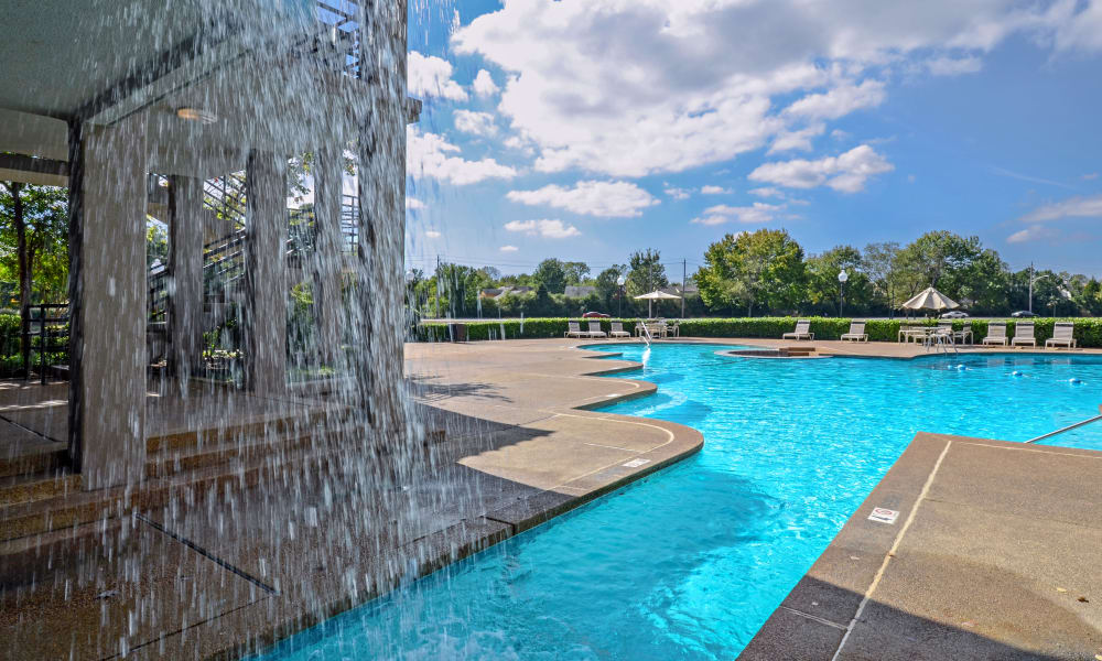 In pool waterfall at Waterview Apartment Homes in Memphis