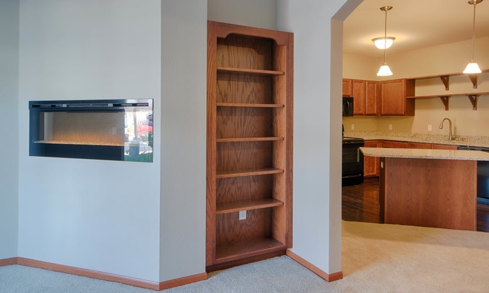 Built in bookshelf at Remington Cove Apartments in Apple Valley
