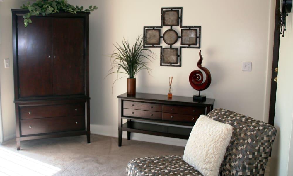 Model living room at Fairway Trails Apartments in Ypsilanti, MI
