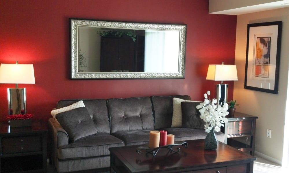 Beautiful living room at Fairway Trails Apartments in Ypsilanti, MI