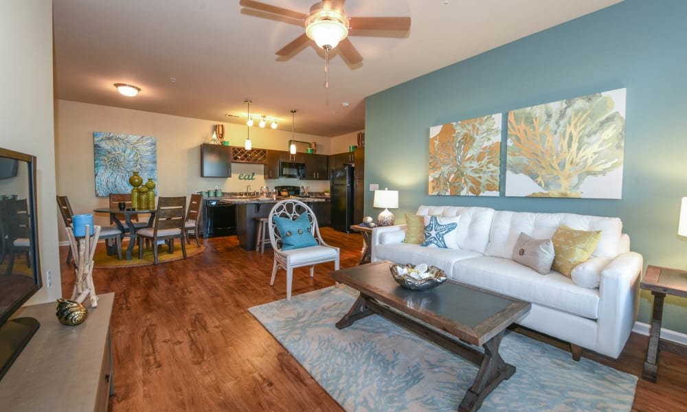 Bright living room and dining room at Springs at Port Charlotte