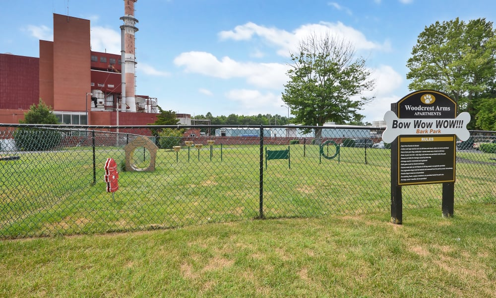 Woodcrest Arms Apartment Homes offers a dog park in Dover, DE