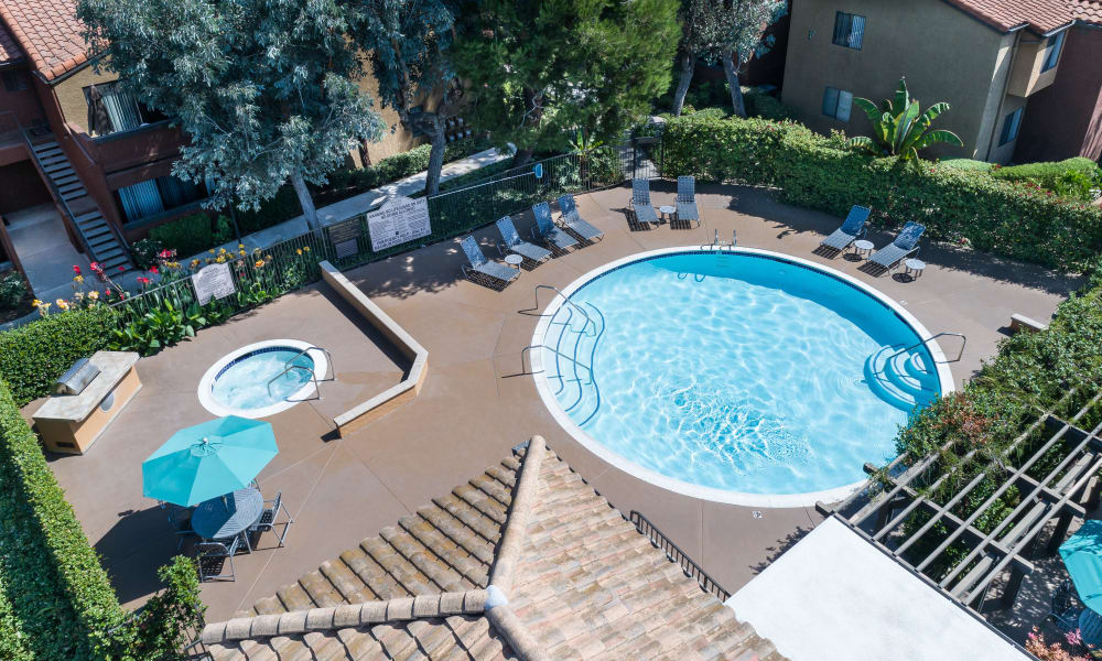 Swimming pool view from above at The Villas at Rowland Heights in Rowland Heights, CA