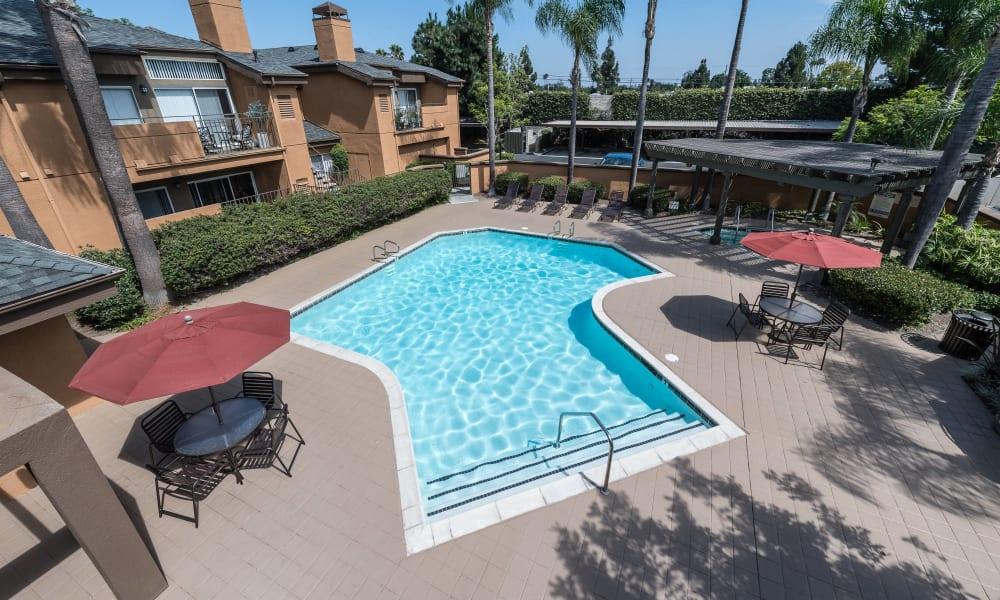 Aerial view of pool at Seapointe Villas in Costa Mesa, CA