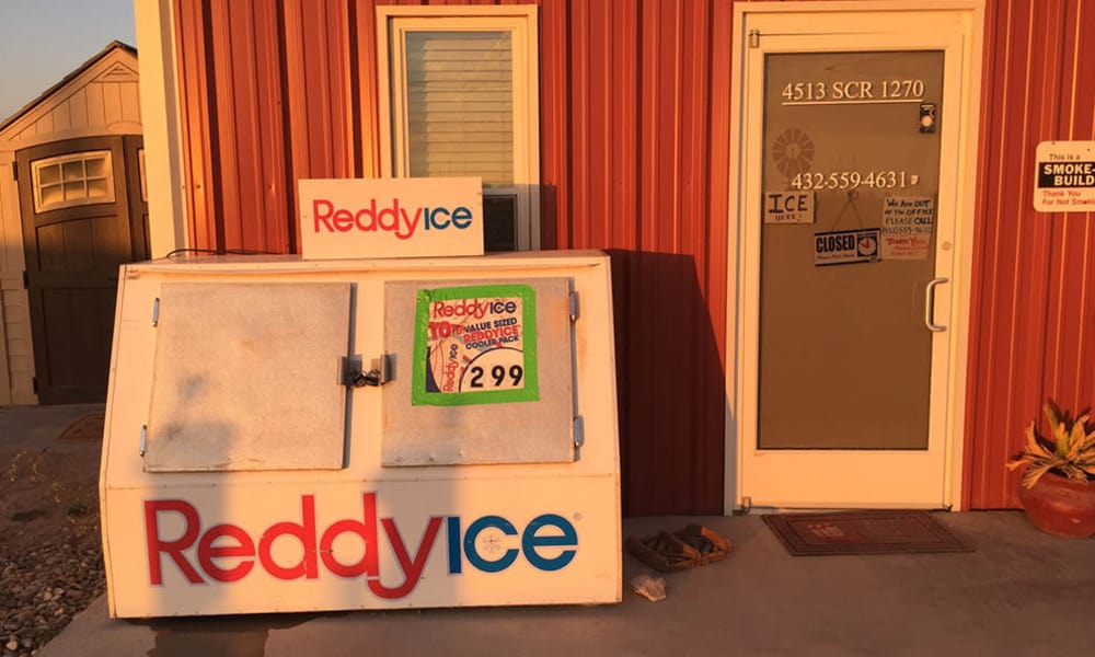 Ice for sale at the leasing office at Lucky Star RV Park