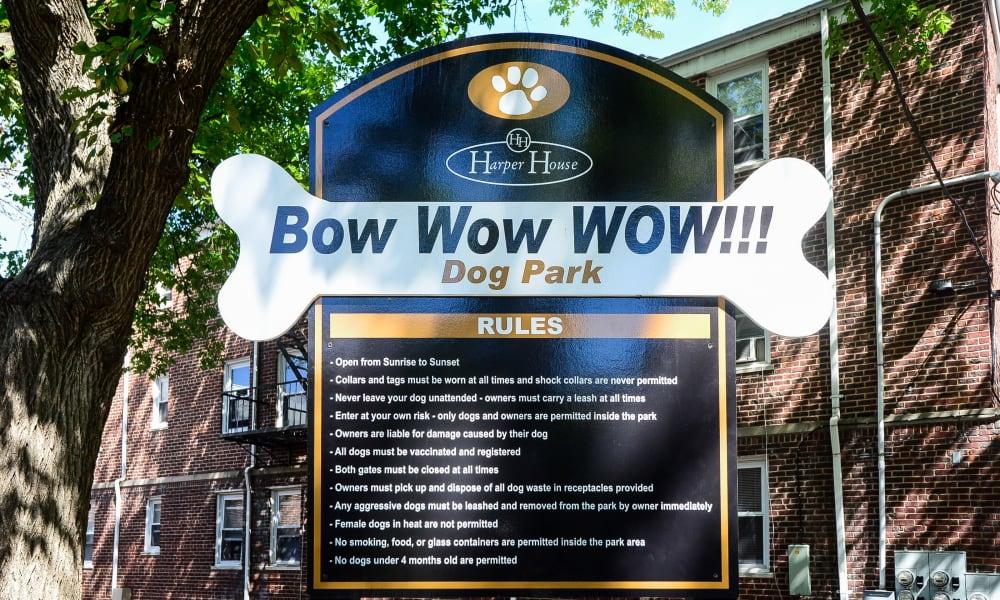 Dog park Sign at Harper House Apartment Homes in Highland Park, NJ