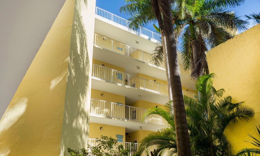 Bright balconies at Ocean Walk Apartments in Key West