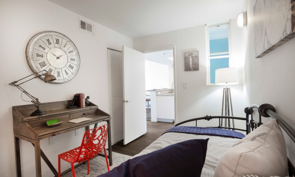 Bright bedroom at Ocean Walk Apartments in Key West