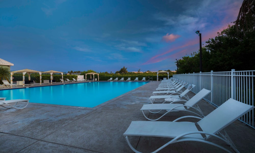 Pool chairs at Ocean Walk Apartments in Key West