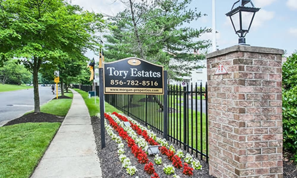 Entrance sign at Tory Estates Apartment Homes in Clementon, NJ