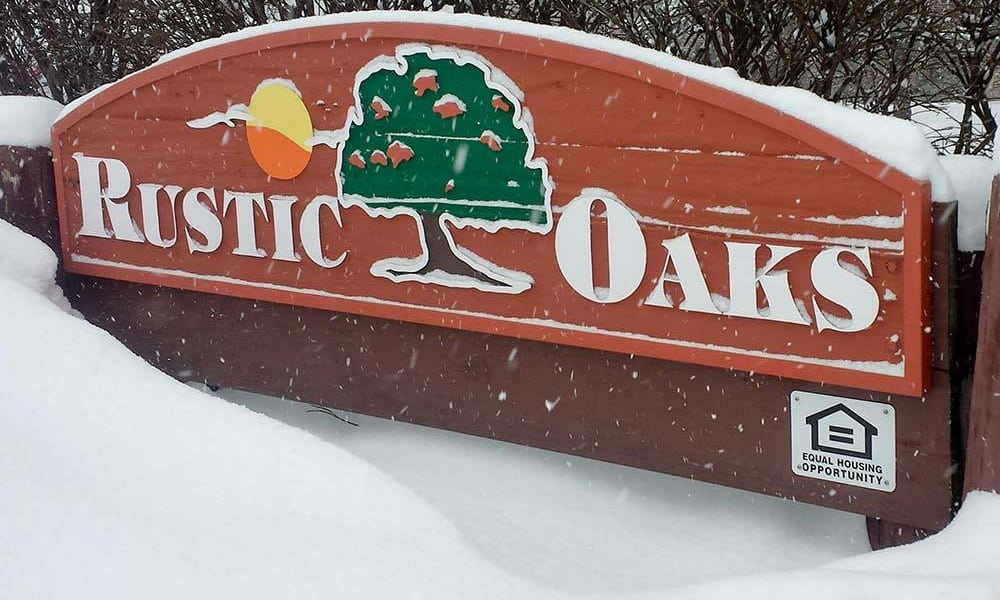 Exterior sign at Rustic Oaks in Oak Forest, IL