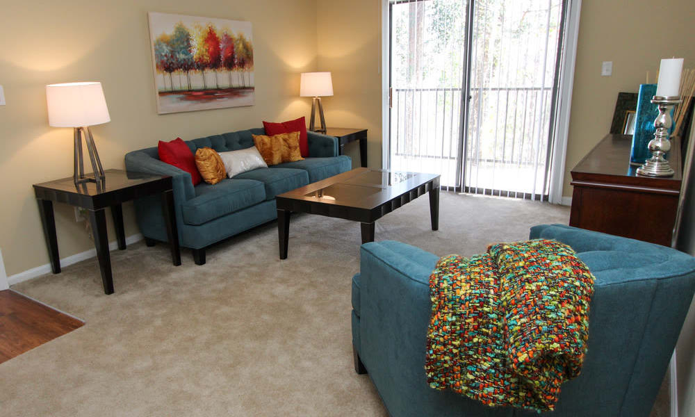 The Bluffs at Epps Bridge offers a spacious living room in Athens, Georgia