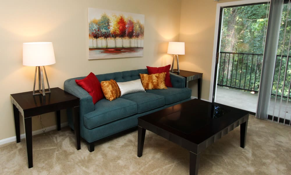 Spacious living room at The Bluffs at Epps Bridge in Athens, Georgia