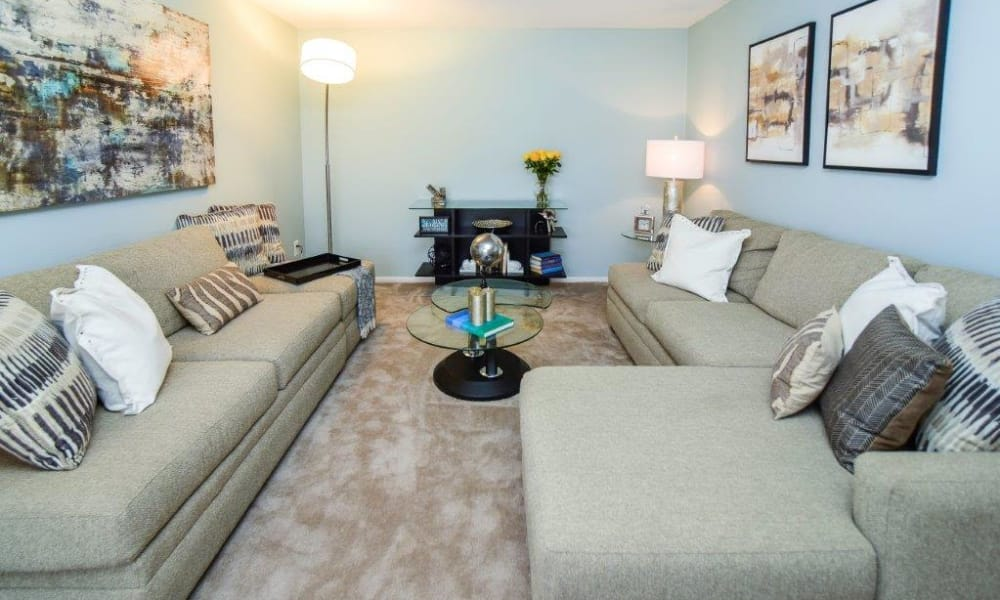 Living room at Montgomery Woods Townhomes in Harleysville, PA