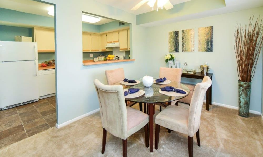 Dining room at Montgomery Woods Townhomes in Harleysville, PA