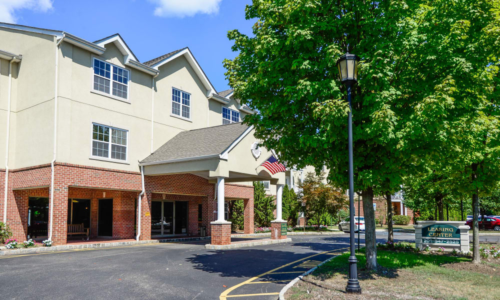Leasing center entrance at The Horizons at Franklin Lakes Apartment Homes in Franklin Lakes, NJ