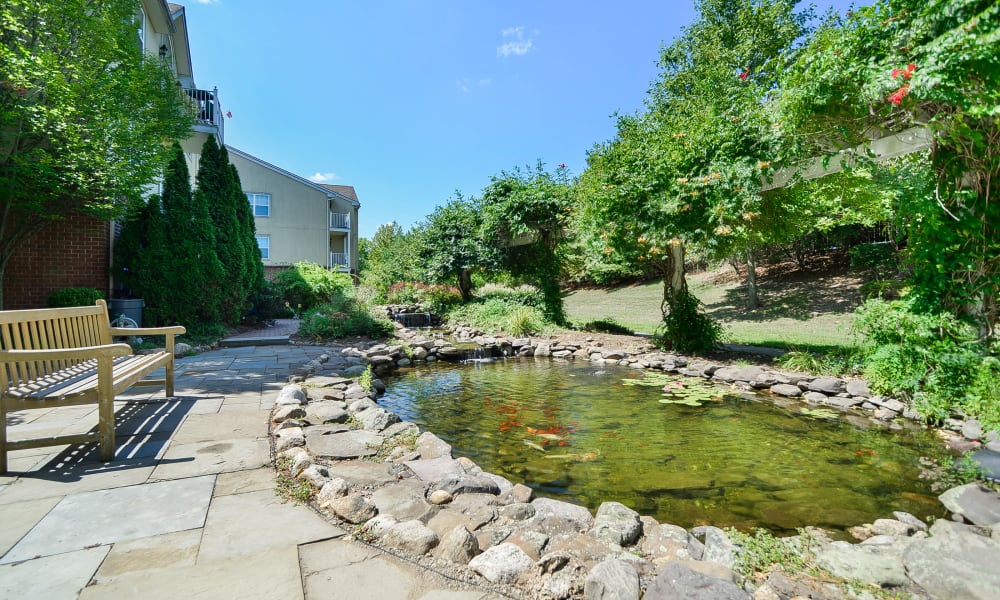 Beautiful pond at The Horizons at Franklin Lakes Apartment Homes in Franklin Lakes, NJ