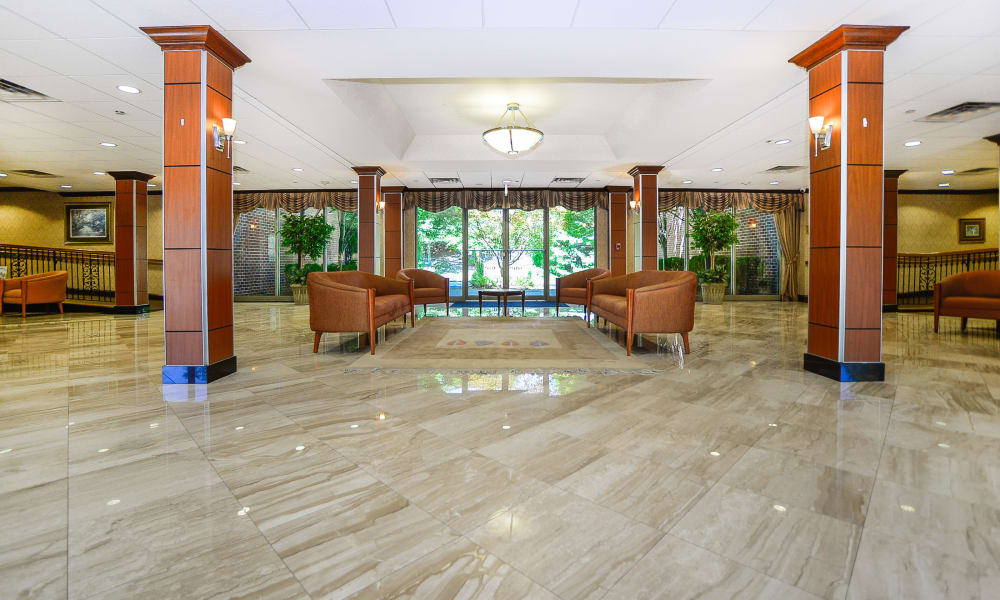 Clubhouse lobby at apartments in Franklin Lakes, NJ