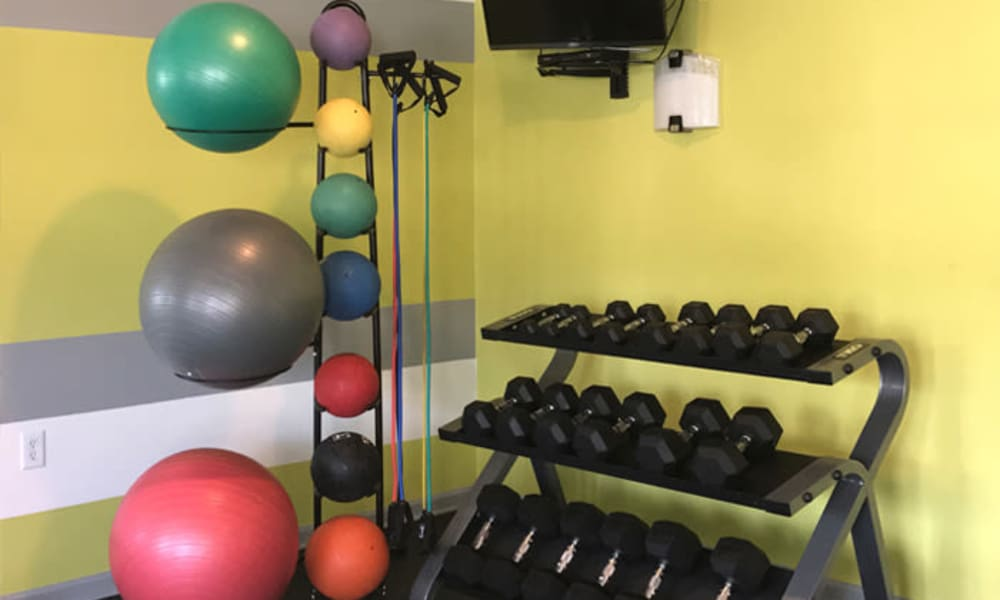 Fitness center at Woodview at Marlton Apartment Homes in Marlton, NJ