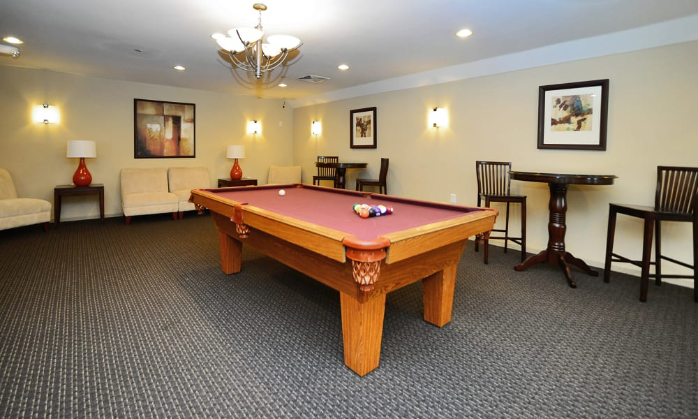 billiards table at Woodview at Marlton Apartment Homes in Marlton, NJ