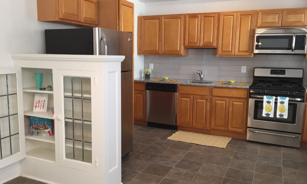 Stainless steel appliances at South Street Apartment Homes in Morristown