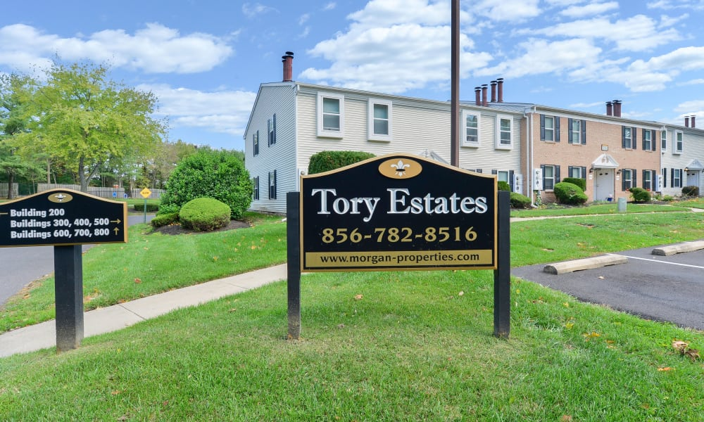 Front sign at Tory Estates Apartment Homes in Clementon