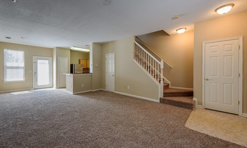 Living room at Falls Creek Apartments & Townhomes