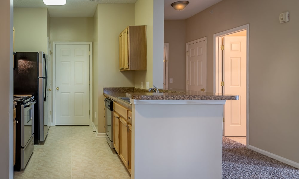 Kitchen with stainless steel sinks at Falls Creek Apartments & Townhomes