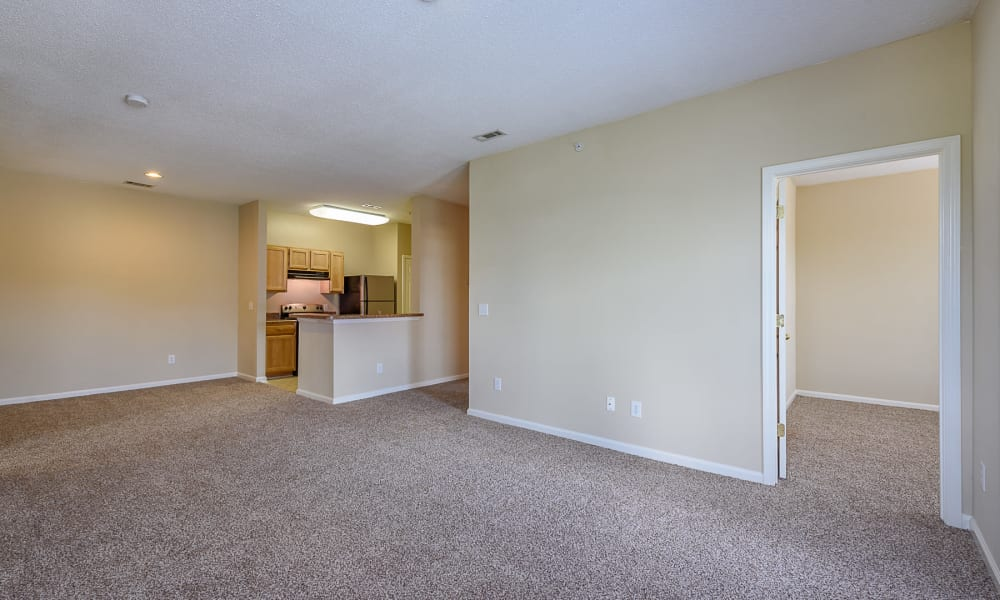 Spacious living room at Falls Creek Apartments & Townhomes