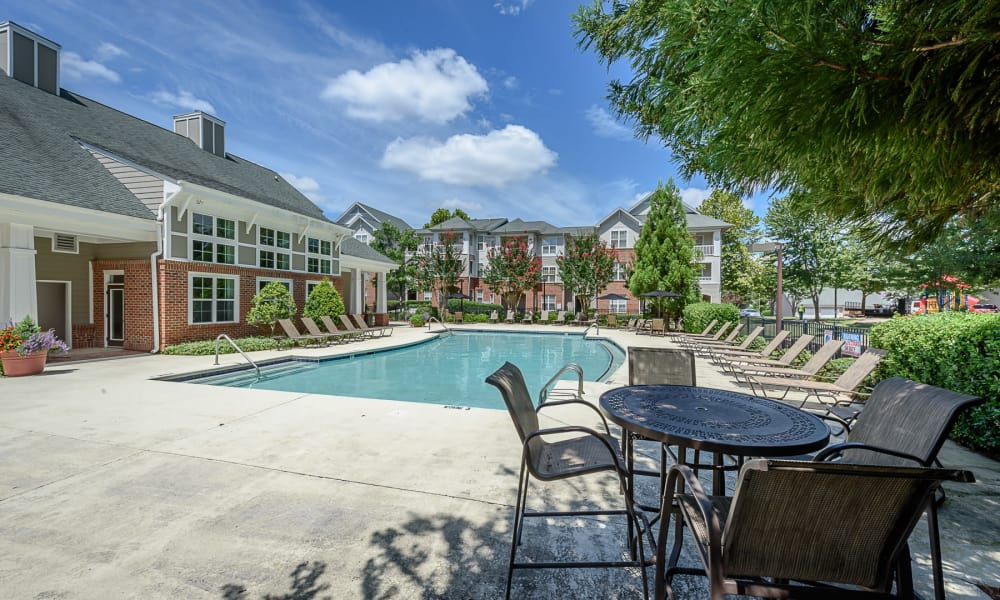 Pool deck at Heather Park Apartment Homes