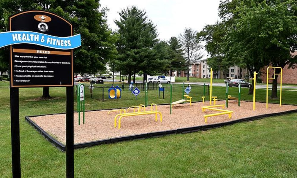 Outdoor fitness place at Northampton Apartment Homes