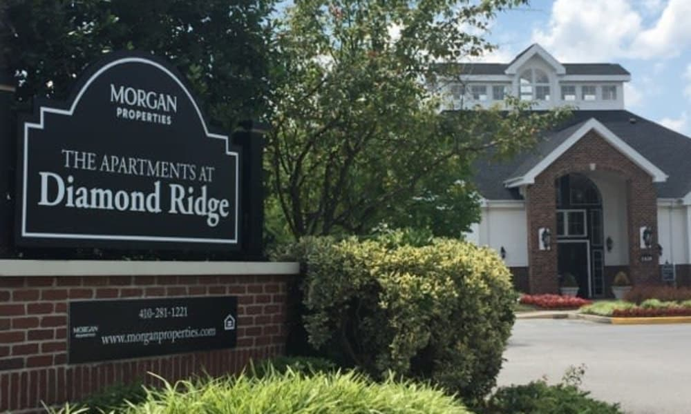 Exterior sign at The Apartments at Diamond Ridge in Baltimore, MD