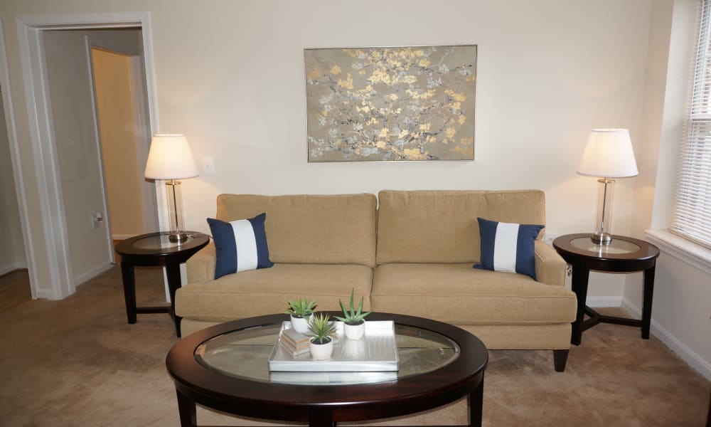 Spacious living room at The Apartments at Diamond Ridge in Baltimore, MD