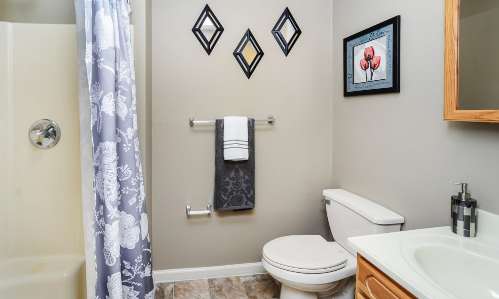 Updated bathroom at Fox Run Apartments & Townhomes
